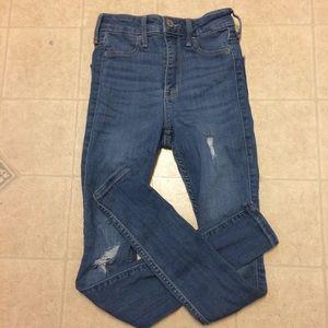 Hollister Medium Wash Ripped Skinny Jeans